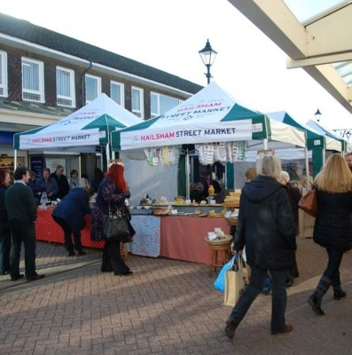 A view of stalls at the Hailsham Street Market