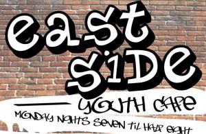 Eastside Youth Cafe graffiti sign