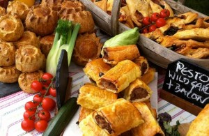 Savory pastries on a stall at the Hailsham Street market
