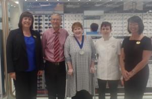 Deputy Mayor Cllr Amanda ORawe with Boots opticians staff