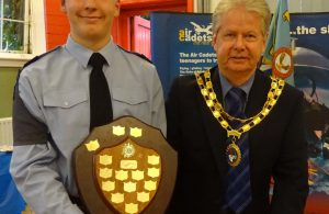 Cllr Coltman with Cdt Sgt Josh Mayell - Winner of the Best Cadet Award
