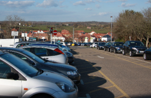 View of cars in a car park near Hailsham