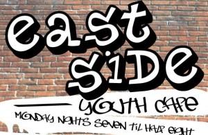 Eastside Youth Cafe graffiti sign