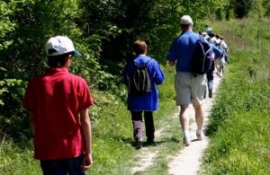 Ramblers walking down a country path
