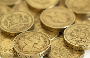 A photo of pound coins