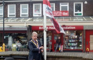 Flag Raised By Town Mayor To Honour Armed Forces