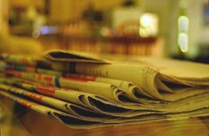 Photo of newspapers ready for recycling