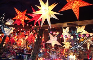 Christmas decorations market stall