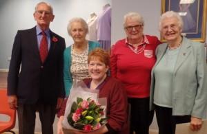 Amanda O'Rawe presents awards to volunteers at Age Concern Hailsham
