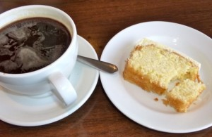 Coffee and slice of cake