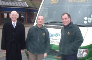 Wealden Bus Alliances Cllr Barry Marlowe left - CCB volunteers middle and right