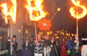 Hailsham Bonfire Society torchlit parade and firework display