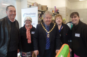 Nigel Coltman and Amanda O'Rawe at Headway East Sussex pop-up charity shop