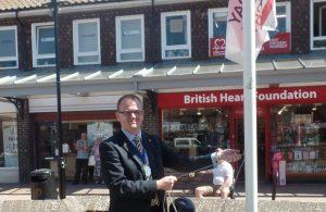 Grant De Jongh raising Armed Forces flag