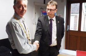 Mayor Cllr Paul Holbrook and Town Clerk John Harrison