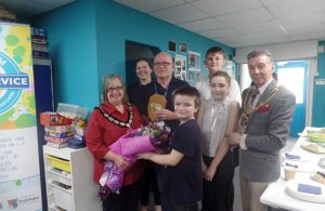 20th Anniversary Celebration of Hailsham Youth Service - young people pictured with Wealden District Council chairman Cllr Pam Doodes, Deputy Youth Project Coordinator Helen Deane, Youth Project Coordinator Andy Joyes and Town Mayor Cllr Paul Holbrook