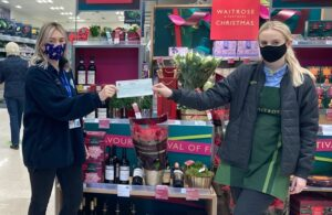 Photo of Youth worker Kerrie Potter with Waitrose member of staff