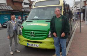 Photo of Mayor Cllr Holbrook with Cuckmere Bus Volunteer Driver Ken Robinson